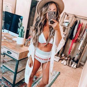 Cocoship Striped Mesh Pom Pom High Waist Bikini